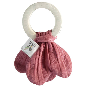 Muslin Tie Teething Ring - Pink