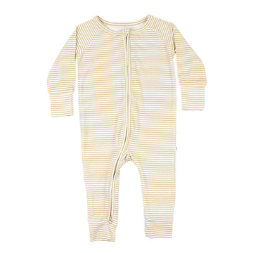 Tan Stripe Ribbed Zip Romper