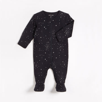 Black Constellations Zipper Footie