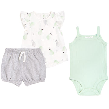 Pears Top & Tank & Short 3 Piece Set