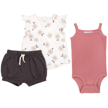 Pink Flower Top & Tank & Short 3 Piece Set