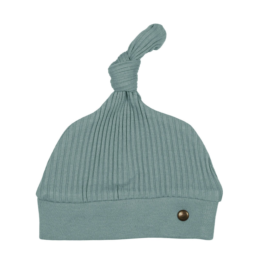 Ribbed Top-Knot Hat - Jade