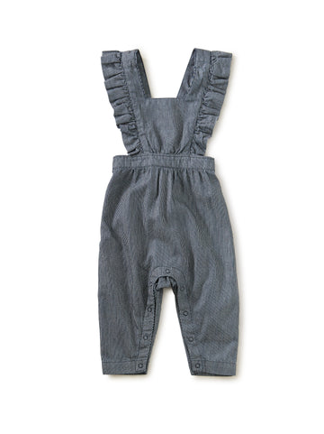 Railroad Stripe Ruffle Romper