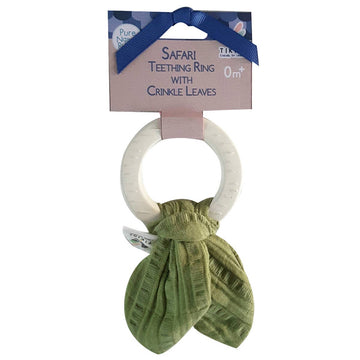 Muslin Tie Teething Ring - Olive Green