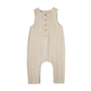 Almond Striped Button Jumpsuit