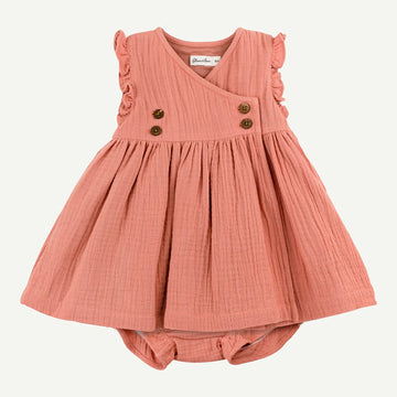 Organic Light Coral Sleeveless Dress Set
