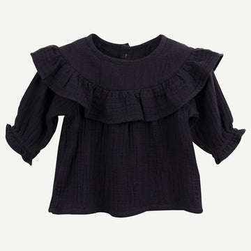 Organic Black Gauze Collared Top