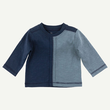 Organic Blue Color Block Long Sleeve Tee