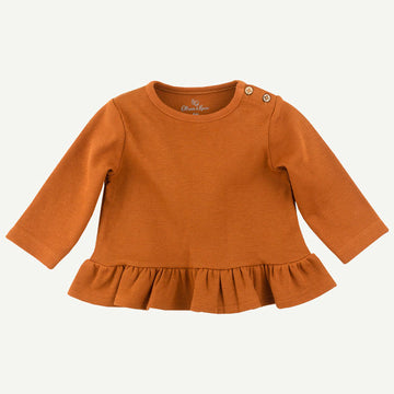 Organic Almond Brown Ruffle Top