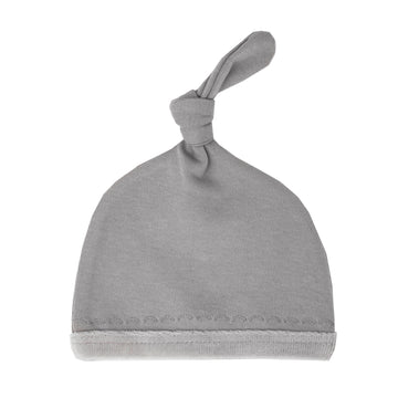 Velveteen Top Knot Hat - Light Gray