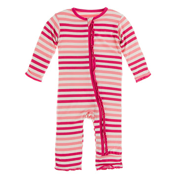 Forest Fruit Stripe Muffin Ruffle Zipper Coverall