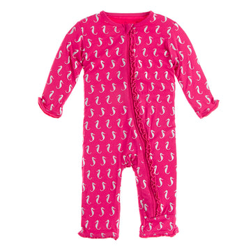 Prickly Pear Mini Seahorses Muffin Ruffle Zipper Coverall