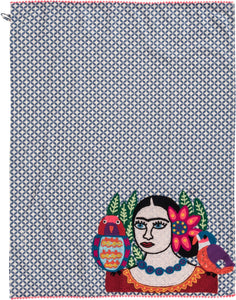 Frida Embroidered Tea Towels (Blue)