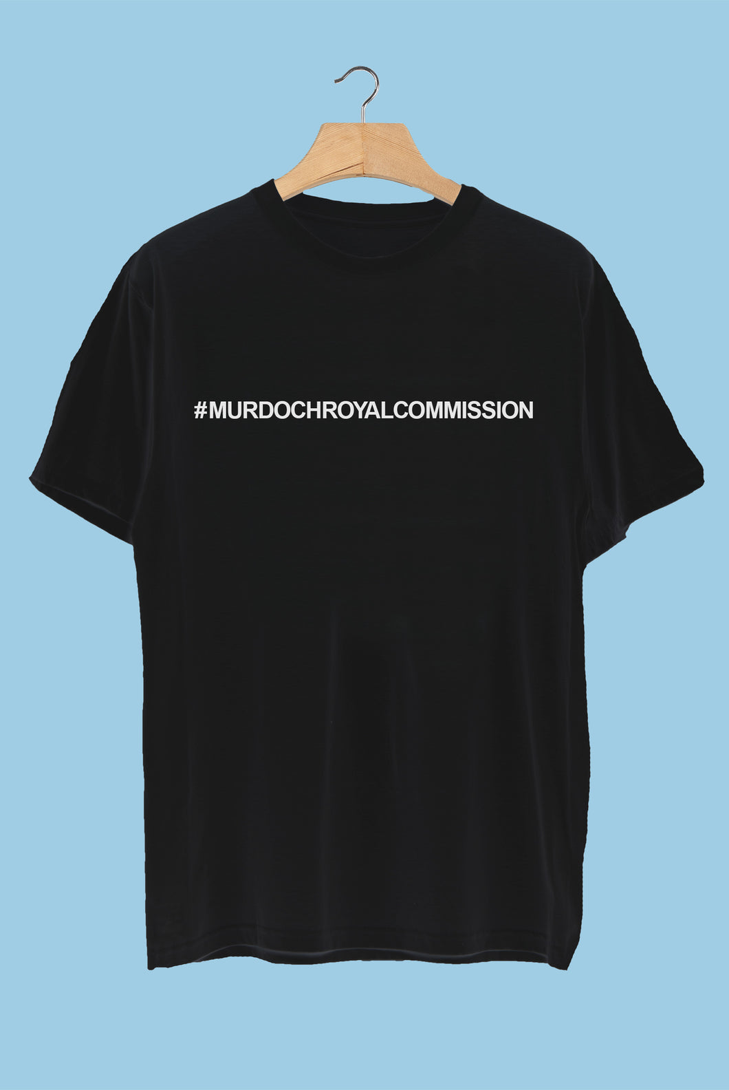 #MurdochRoyalCommission T-Shirt - White on Black