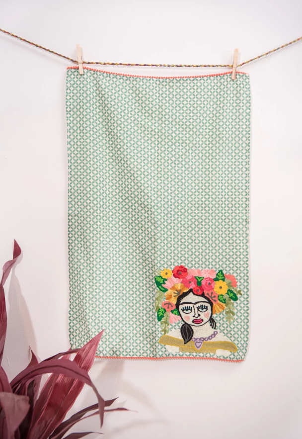 Frida Embroidered Tea Towels (Green)