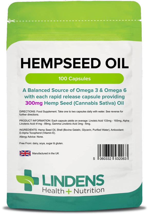 Hemp Seed Oil 300mg Capsules - Lindens Health + Nutrition