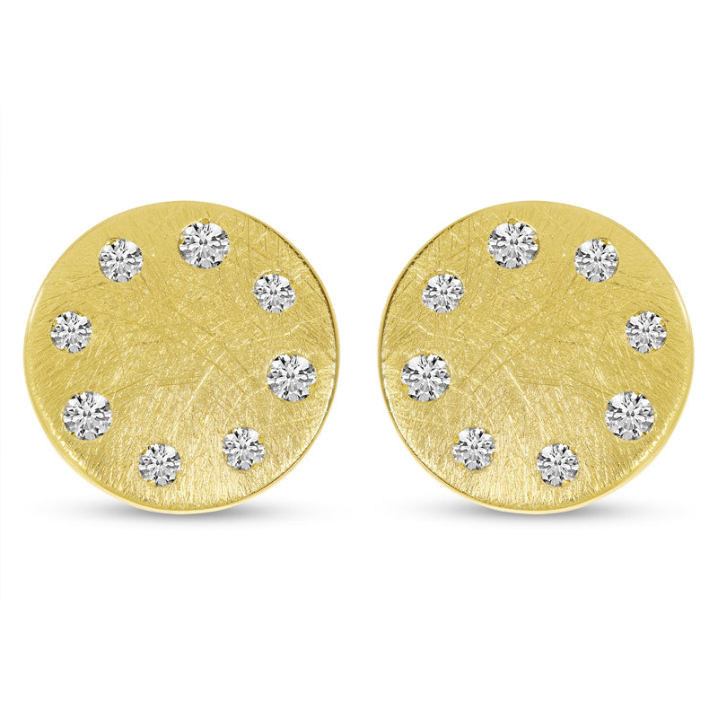14k Yellow Gold Brushed Diamond Disc Stud
