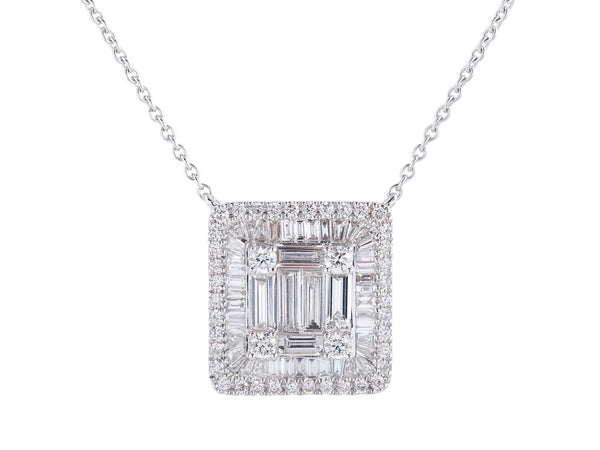 Large Baguette and Round Diamond Halo Illusion Necklace