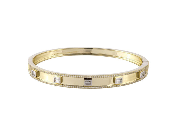 Gold and Baguette and Round Diamond Bangle