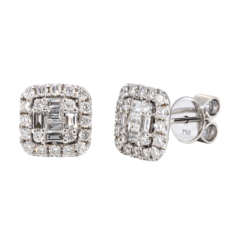 Diamond Baguette Cushion Shaped Cluster Stud