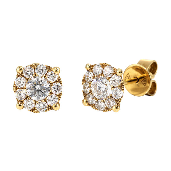 Yellow Gold & Diamond Cluster Earrings