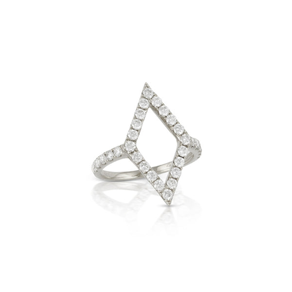 Doves Open Diamond Shaped Ring