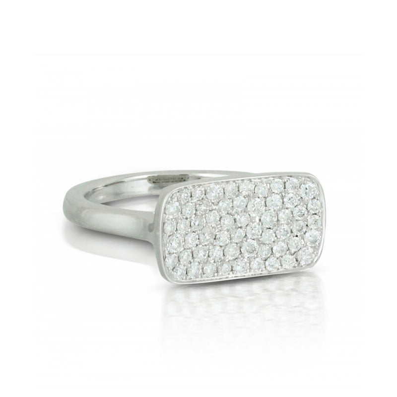 Doves Rectangular Concave Pave Ring