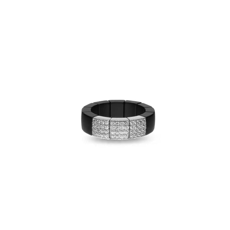 Roberto Demeglio, Domino, Black Ceramic Pave Diamond Band
