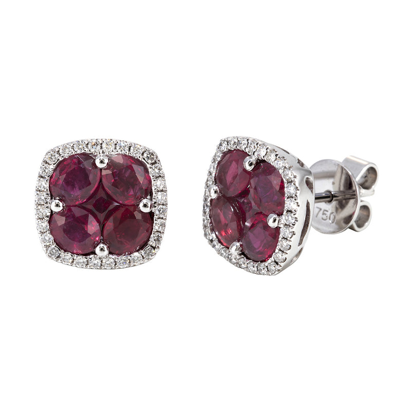 Ruby and Diamond Illusion studs