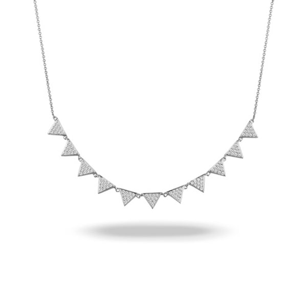 Doves Diamond Triangle Station Necklace