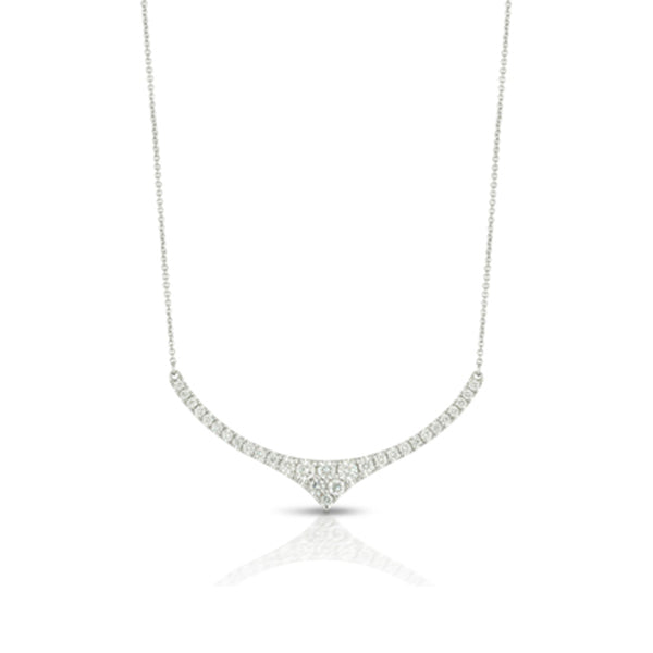 Doves Curved Bar Diamond Necklace