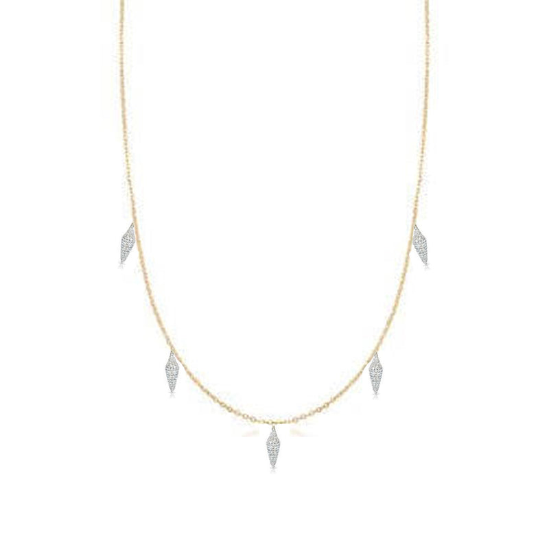 Two Tone Diamond Pave Spike Station Necklace