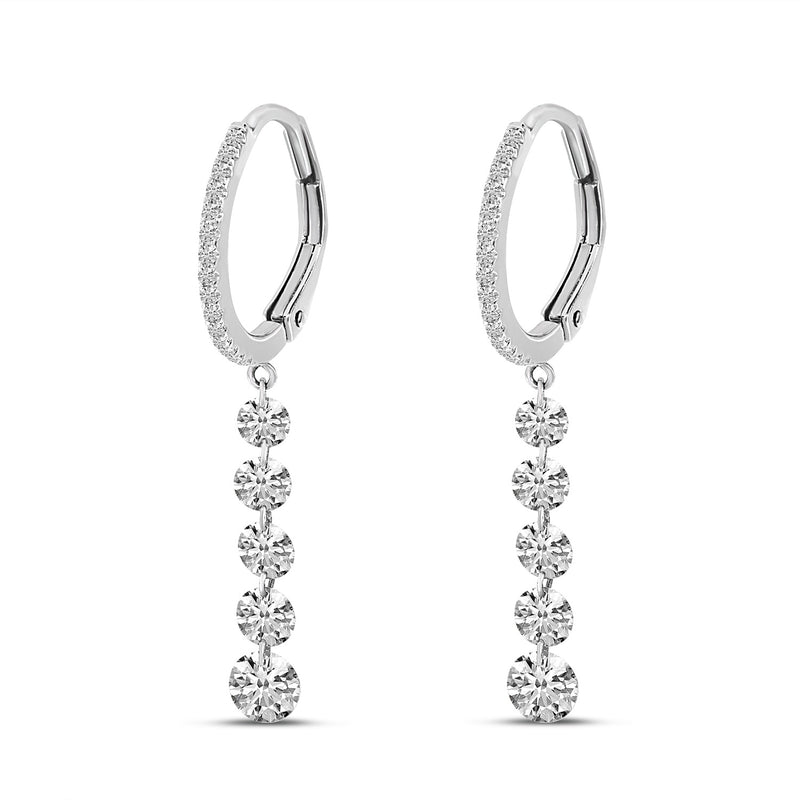 Dashing Diamond Huggie Drop Earrings