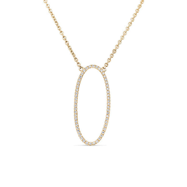 Long Open Oval Diamond Necklace