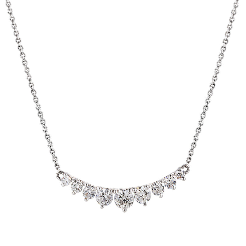 Tapered Curved Bar Diamond Necklace