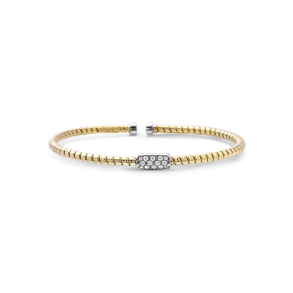 18K Cuff Bracelet with Small Rectangular Pave Section
