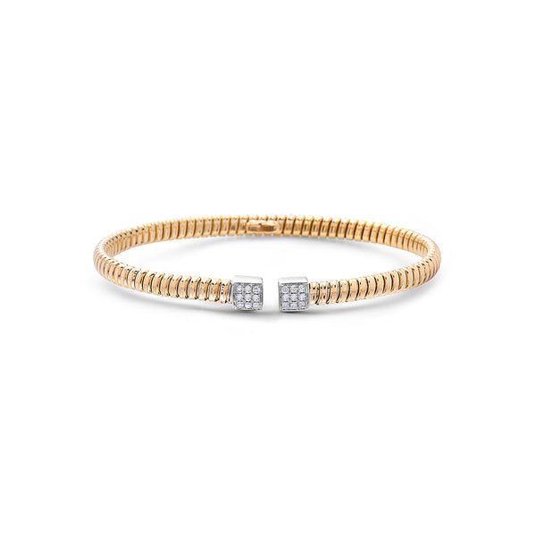 18K Open Cuff Bracelet with Pave Ends