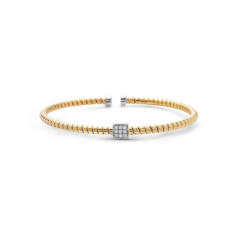 18K Cuff Bracelet with Square Pave Diamond Section