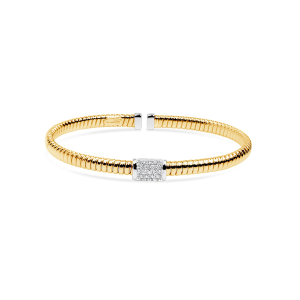 18K Cuff Bracelet with Medium Rectangular Pave Section