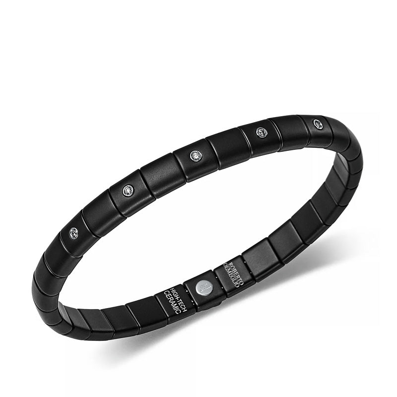 Roberto Demeglio, Pura, Black Ceramic and Diamond Stretch Bracelet