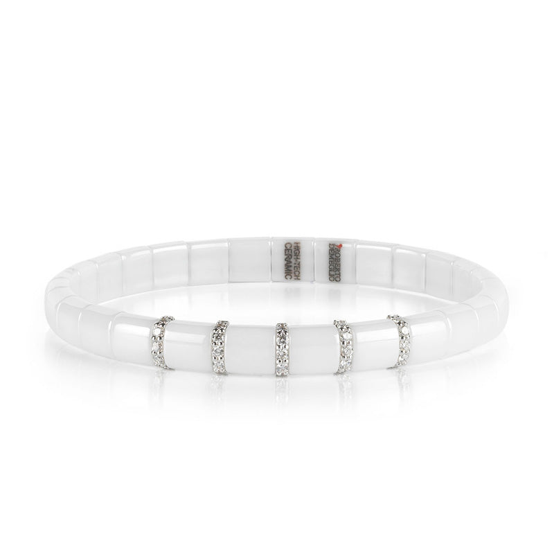 Roberto Demeglio, Pura, White Ceramic and Diamond 5 Bar Stretch Bracelet
