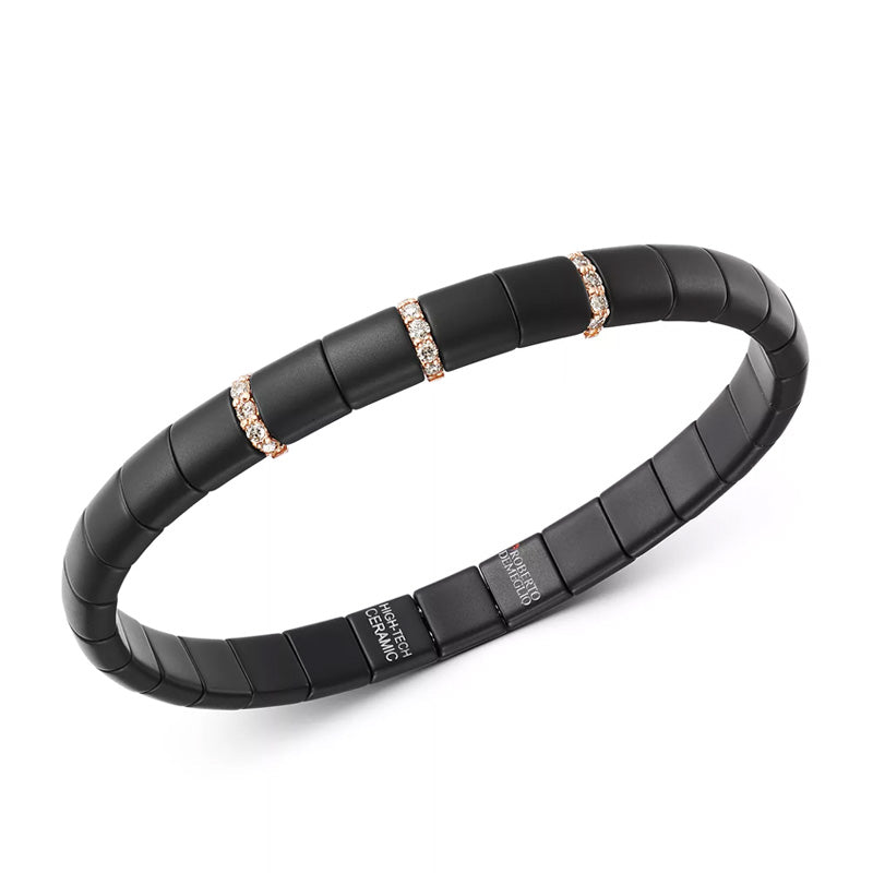 Roberto Demeglio, Pura, Black Ceramic and Champange Diamond 3 Bar Stretch Bracelet