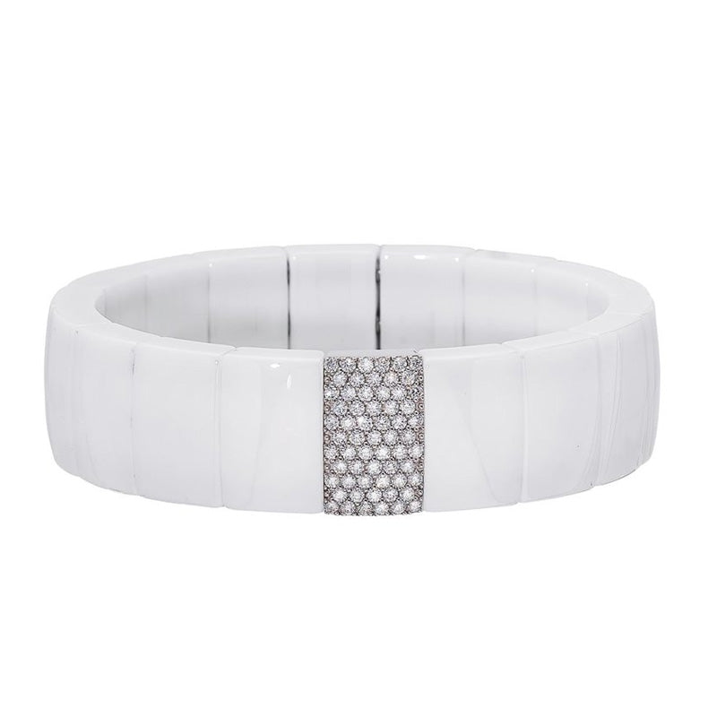 Roberto Demeglio, Domino, White Ceramic and Diamond Stretch Bracelet