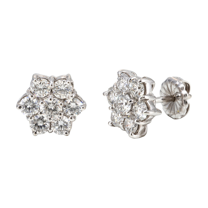 Large Round Diamond Cluster Earrings