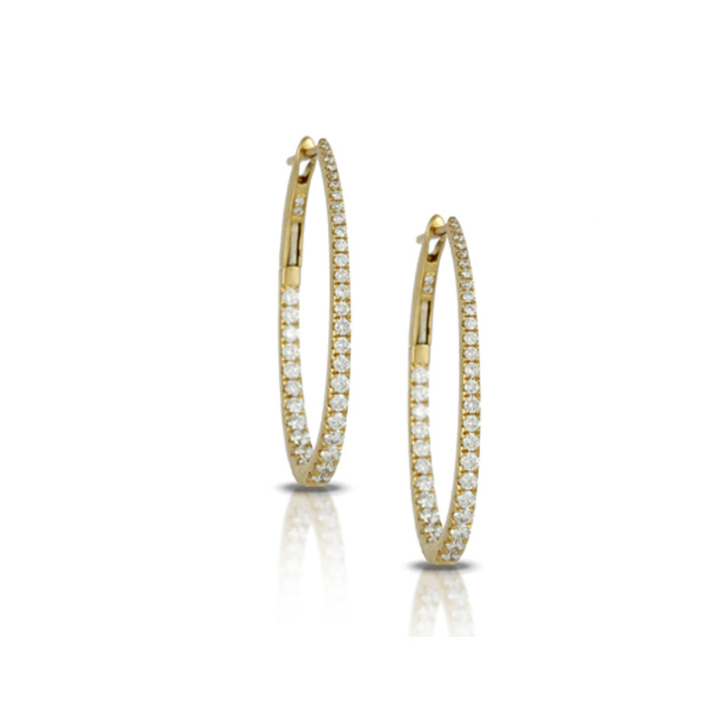 Dove Tapered Diamond Oval Hoop Earrings