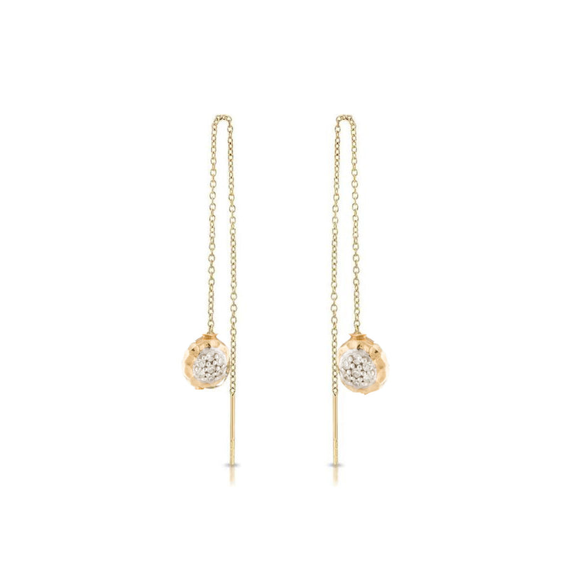 Two Tone Pave Diamond Threader Earrings