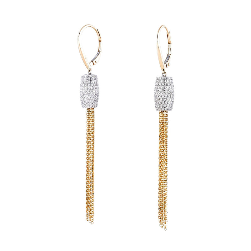 Pave Rondelle Chain Drop Earrings