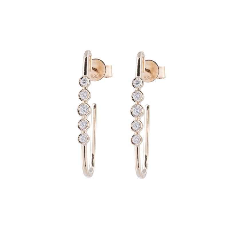 Elongated Bezel Set Diamond Earrings