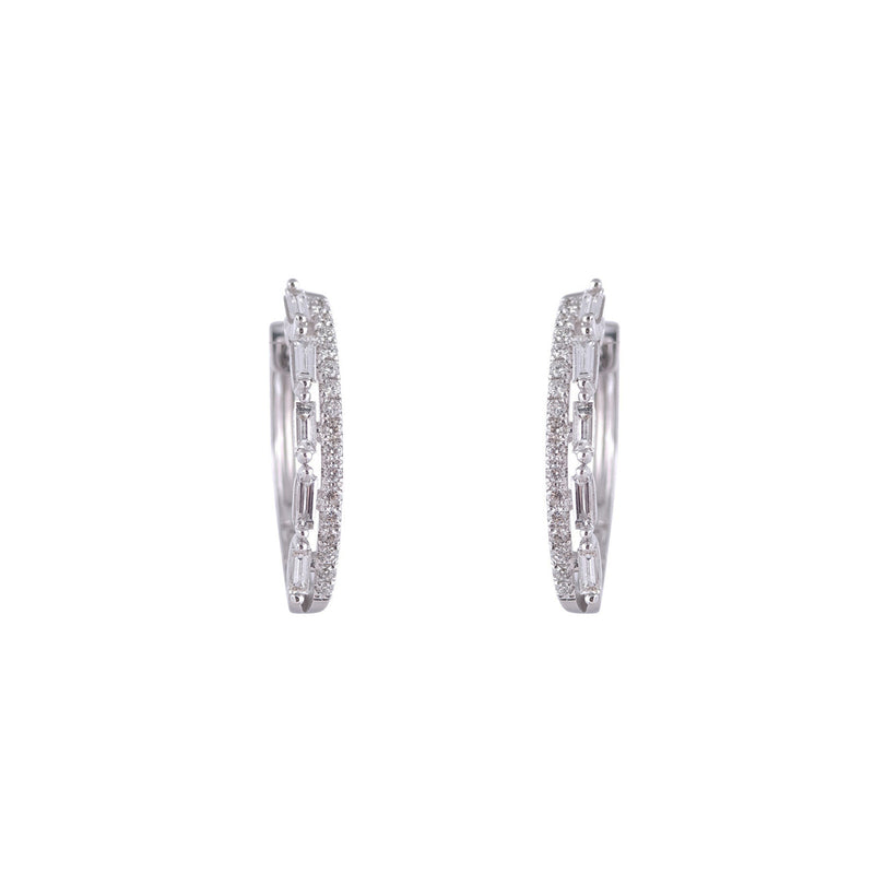 Two row Baguette and Round Diamond Hoops