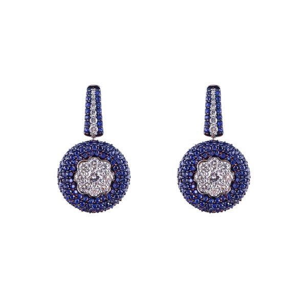Pave Sapphire and Diamond Cluster Earrings
